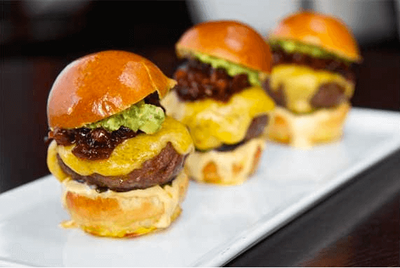 Three cheeseburger sliders
